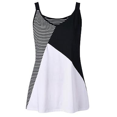 a35b68707aa Turkey 2018 Summer Women Plus Size Blouse Stripe Patchwork Sleeveless Tank  Top Vest O-Neck