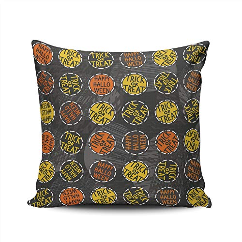 SALLEING Custom Fashion Home Decor Pillowcase Happy Halloween Round Badges Autumn Holiday Square Throw Pillow Cover Cushion Case 22x22 Inches Double Sided Print