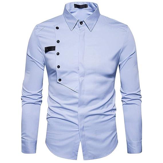Camisa de Vestir de Manga Larga de algodón Formal de Manga Larga de algodón Casual de los Hombres de otoño Top Blusa por Internet.