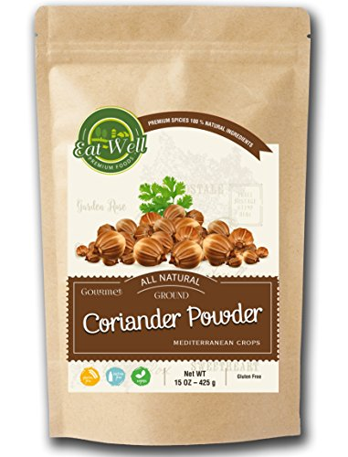 (Coriander Powder | 15 oz - 425 g Reseable Bag, Bulk | Ground Corriander Seed Powder | MEDITERRANEAN CROPS | Premium Grade, Freshly Packed | by Eat Well Premium Foods)