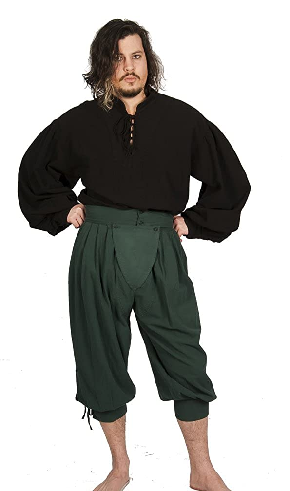 Deluxe Adult Costumes - Historically accurate pirate dark green cotton button cod slops trewes breeches by Dress Like A Pirate
