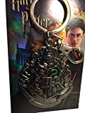 Harry Potter Hogwarts Color Crest Silver Pewter Metal Keychain Key Ring Clip