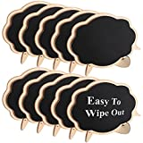 #3: Famistar Mini Thicker Black Chalkboards Signs Easy to Wipe Out,10 PCS Wood Small Messag Board Signs Place Cards for Weddings,Parties,Table Numbers,Food Signs,Special Event Decoration with Easel Stand