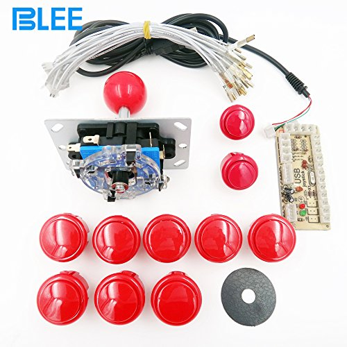 BLEE DIY Handle Arcade Set Kits 24mm/30mm Push Buttons Replacement Parts Zero Delay USB Cable Encoder Board to PC Joystick Button (Red Kit)