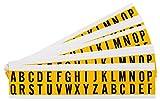 Brady 1520-LTR KIT Vinyl A Thru Z Letter Label, 0.75'' Height x 0.56'' Width, Black/Yellow