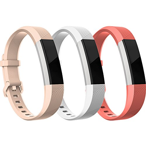 RedTaro Bands Compatible with Fitbit Alta HR/Alta-Pack of 3(White,Pink,Coral) Large,Adjustable Replacement Accessory Bands/Straps for Fitbit Alta HR/Alta for Women/Men(no Fitbit Fitness ()