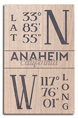 Lantern Press Anaheim, California - Latitude and Longitude (Blue) (10x15 Wood Wall Sign, Wall Decor Ready to Hang)