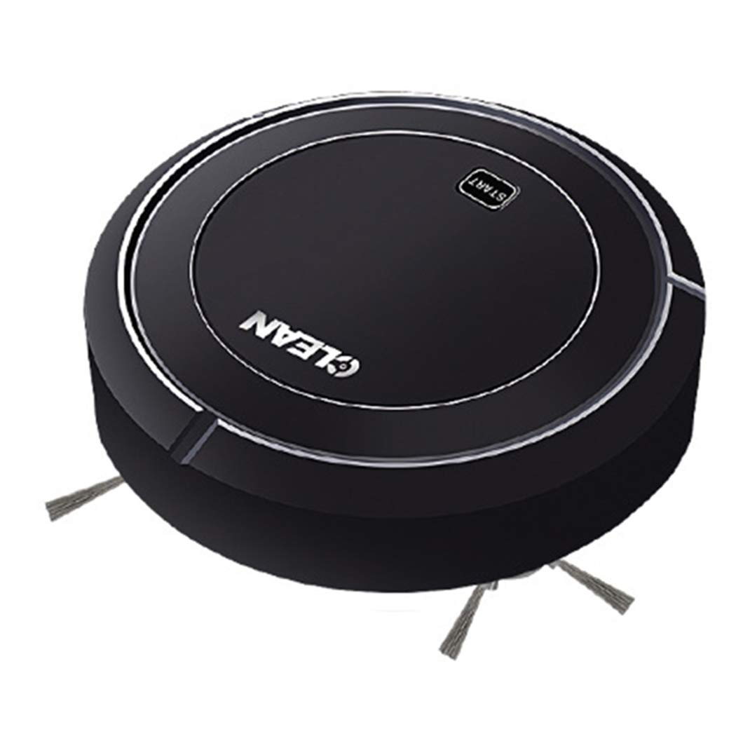 Electric Vacuum Cleaner Household Smart Automatic Rechargeable Floor Cleaner Robot with Brush (Black)