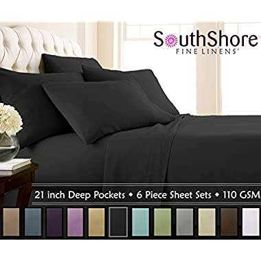 Southshore Fine Linens - 6 Piece - 21 Inch - Extra Deep Pocket Sheet Set (Queen, Black)