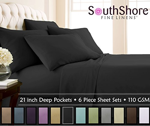 Southshore Fine Linens - 6 Piece - 21 Inch - Extra Deep Pocket Sheet Set (King, Black) - Super Pillow Top Set