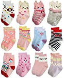 RATIVE Non Skid Anti Slip Slipper Cotton Dress Crew Socks With Grips For Baby Infant Toddler Girls (12-24 Months, 12-pairs/RG-821727)