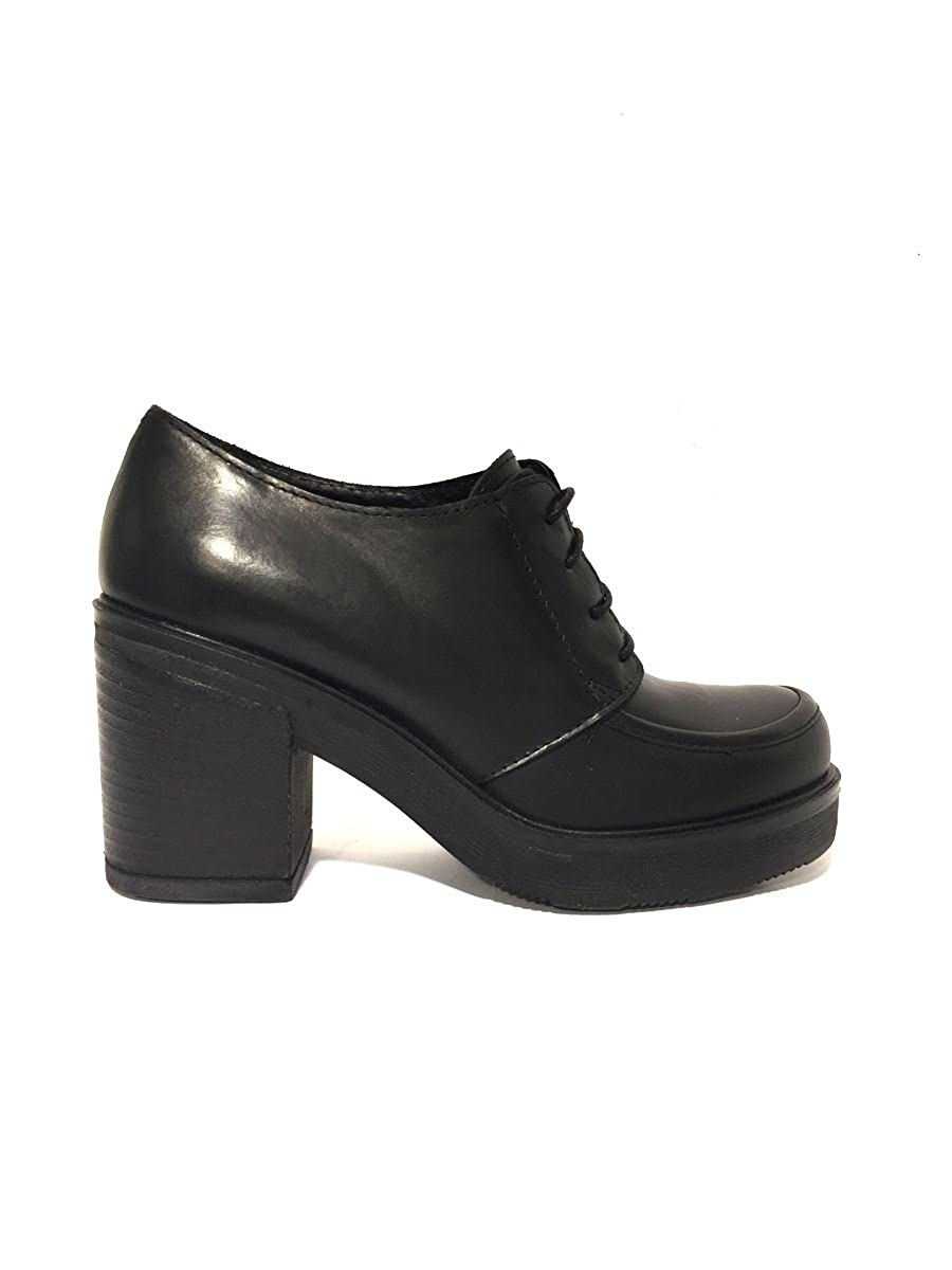 ZETA Schuhe Francesine rm1602 – 04 Leder Leder Leder allaciate Pumps Breit Retro 'MainApps Schwarz 7f6176