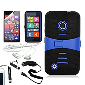[ARENA] BLACK BLUE HYBRID WAVE STAND COVER FITTED HARD GEL CASE for NOKIA LUMIA 530 + FREE ARENA ACCESSORY KIT