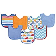 Luvable Friends Print Drooler Bib, Blue Cars, 7 Count