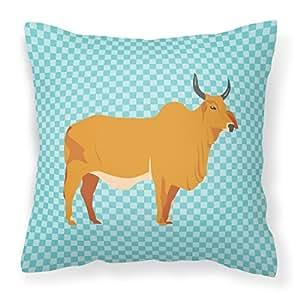 Caroline tesoros del bb7999pw1818Zebu indicine vaca azul comprobar al aire libre lienzo Tejido decorativo almohada, multicolor