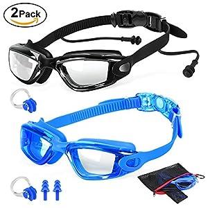 2 Packs Swim Goggles + Nose Clip + Earplugs + Mesh Pouches, ELECOOL Anti fog UV Protection NO Leaking Lenses Swimming Glasses & Swim Gear for Women Men Kids Girls Boys (Black/Blue)