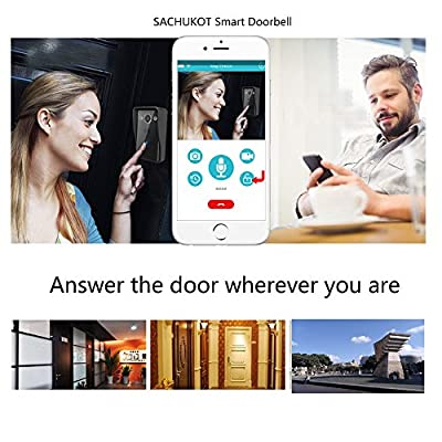 Wireless Wifi Video Doorbell, 10.0M Pixel HD IP65 Waterproof Camera Video Intercom System 2-Way Audio Intercom Doorbell with Infrared Night Vision Compatible with IOS and Android By SACHUKOT