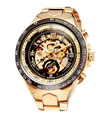 Luxury Skeleton Watch - Luxury Golden Case Automatic Mechanical Skeleton Stainless Steel Men Wrist Watch