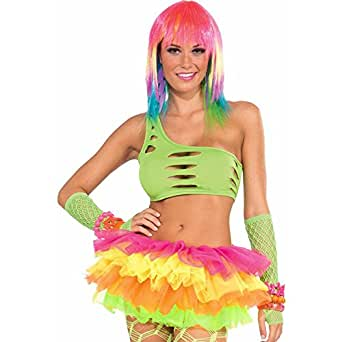Forum Novelties Neon Rainbow Mesh Costume Tutu, Multi-Colored, One Size