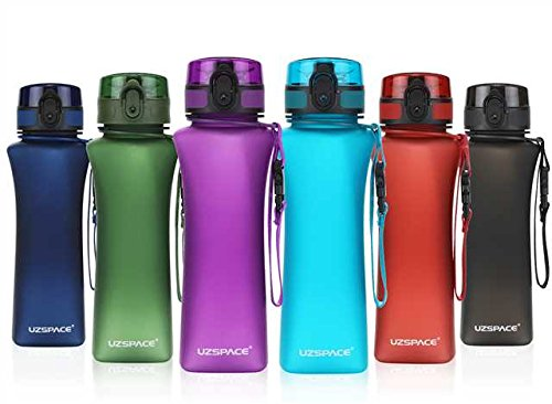 UZSPACE Sports Water Bottle 12oz Flip Top Opens with One-Click - Reusable with Leak-Proof Lid - for Cycling, Running, Gym, Yoga, Outdoors and Camping