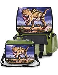 Kidaroo Striped T-Rex Dinosaur School Backpack & Lunchbox for Boys, Girls, Kids