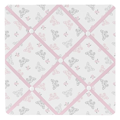 Sweet Jojo Designs Pink, Gray and White Shabby Chic Alexa Damask Butterfly Fabric Memory/Memo Photo Bulletin Board by Sweet Jojo Designs