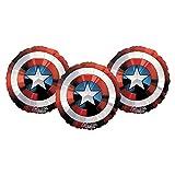 Set of 3 Marvel Captain America Avenger's Shield 28'' Round Foil Balloons