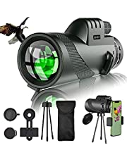 12×50 HD Monocular Telescope with Smartphone Adapter & Metal Tripod, Star Cosmic Scope Monocular for Adults Kids, BAK4 Prism Lens Portable Waterproof, Perfect for Birdwatching, Hiking, Hunting