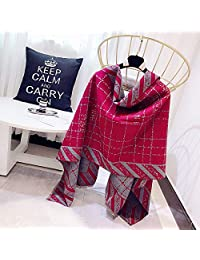 YUANZ Home Winter Scarf Female Fashion Geometric Pattern Jacquard Scarf Double Sided Warm Shawl (Color : Wine red, Size : 180 * 70)