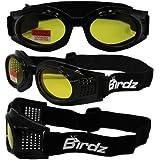 Birdz Eyewear Kite Motorcycle Goggles (Black Frame/Yellow Lens)