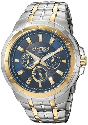 Two Tone Track Link Bracelet - Armitron Men's 20/5144NVTT Multi-Function Dial Two-Tone Bracelet Watch