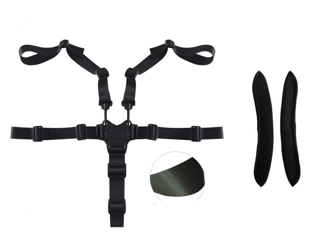 iZoeL 5 Point Harness Baby Safety Harness Strap Belt for High Chair Buggy Pushchair with Shoulder Cushion Pads Adjustable Durable Nylon