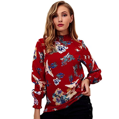 - Clearance! Women Tops Daoroka Ladies Chiffon Long Sleeve Ruffled Floral Print Pullover Blouse Casual Loose Tunic Fashion Comfort Cute T-Shirt