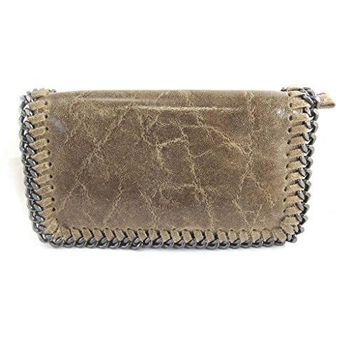 Bolso de cuero 'Scarlett'taupe brillante (21.5x13x6 cm).