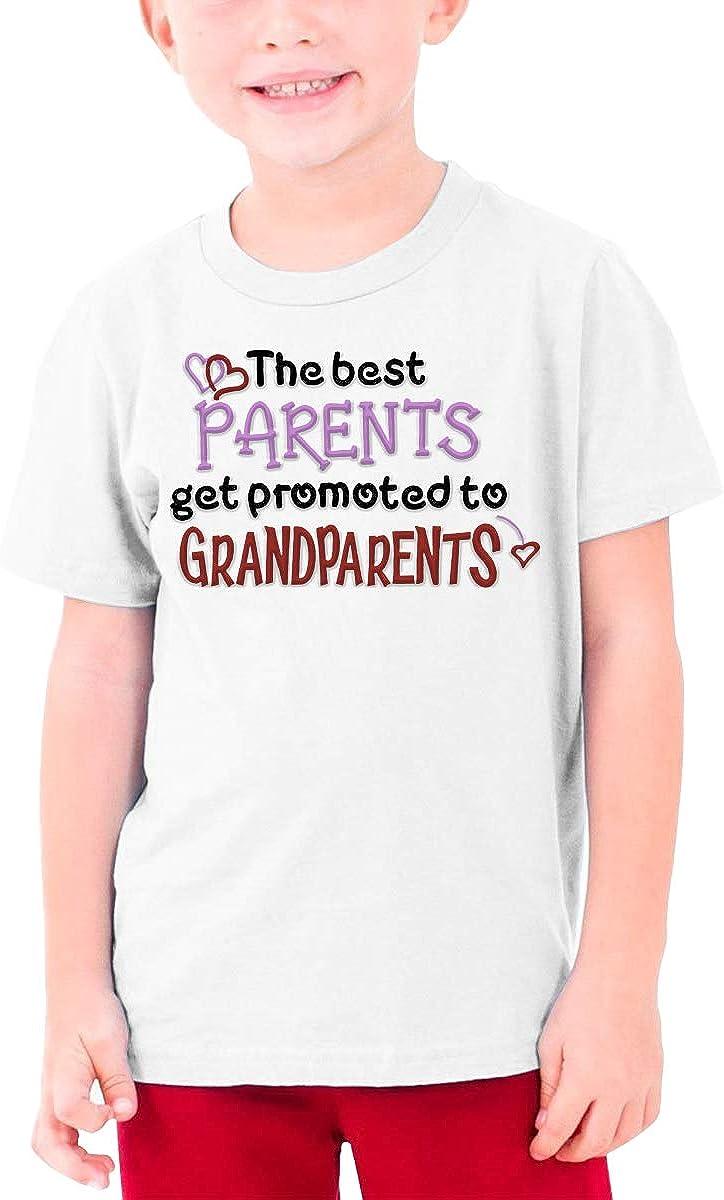MEIXI SHINYOK The Best Parents Get Promoted to Grandparents Cute Pregnancy Baby Announcement Boys Soft Teenage T-Shirt White