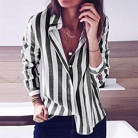 SETGVFG Blusas De Mujer Camisa De Rayas De Moda Casual Blusa De Cuello Vuelto Camisas De Oficina para Mujer Túnica De Manga Larga Top Blusas Mujer: Amazon.es: Deportes y aire libre