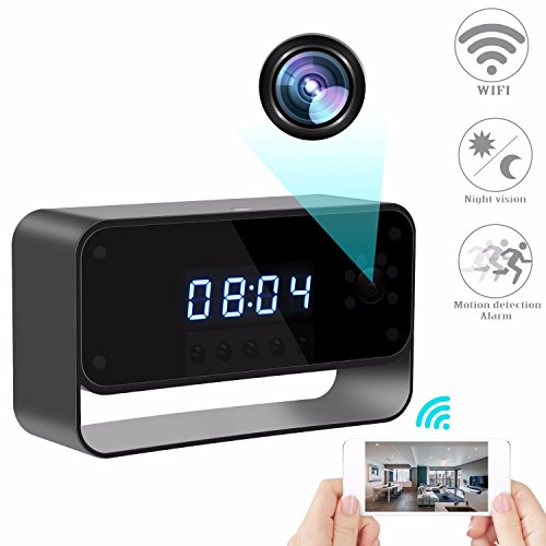 RZATU - Hidden Camera Alarm Clock - Spy Camera Wireless - Nanny Camera WiFi - Mini Home Security Monitoring Cam with Cell Phone iPhone Android App - 1080P HD - ()