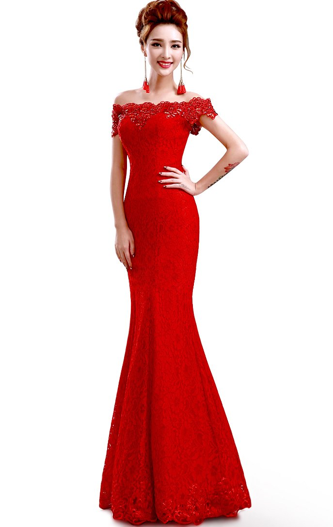 Babyonline 2016 off shoulder lace Mermaid Evening Formal Bridesmaid dress,Red,2