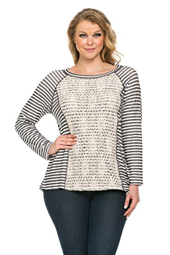 Stripe Double Layer Tops (My Yuccie Women's Double Layer Front Floral Lace Stripe Top Plus Size, XL, Navy and Off)