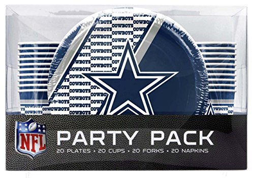 (NFL Dallas Cowboys Disposable Party Pack (Plates, Cups, Forks,)