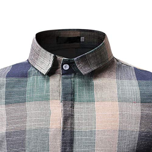 Men\'s Button Down Shirt - Causal Short Sleeve Plaid Shirt Small (Label M) Green