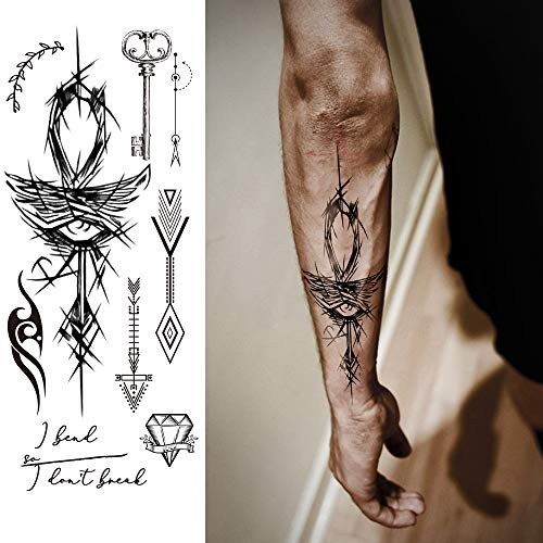 (Temporary Tattoos Body Art Stickers - 100 Unique Black Fashion Various Designs Words Qoutes Marks Temp Tats Fake Waterproof Removable Stickers Party Vacation Tatts Flowers Skull Symbol 9 Sheets )