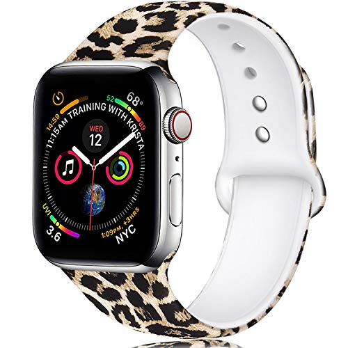 Laffav Compatible with Apple Watch Band 44mm 42mm for Women Men, Classic Leopard, M/L
