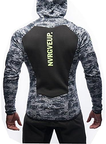 (Ruuko)メンズ 迷彩スウェットジップパーカ トレーナーパーカ トレーニング スウェットシャツ (M, グレー)