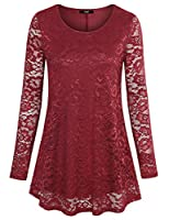 Laksmi Womens Long Sleeve Lace Tops Scoop Neck A Line Floral Casual Tunic Shirts