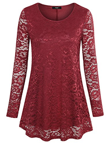 Laksmi Long Sleeve Office Shirt, Womens Floral Lace Tops A Line Hollow Out Lace Stiching Blouse Shirts,Wine X-Large (Holiday Red Top Shirt)