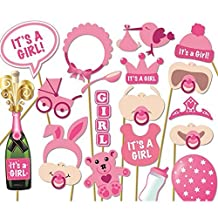 Baby Shower Photo Props, Baby Bottle Masks Pink Photobooth Props Newborn Girl Gift Party Decorations-17pcs