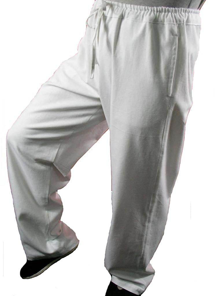 100% Cotton White Kung Fu Martial Arts Tai Chi Pant Trousers XS-XL Tailor Custom Made + Free Magazine
