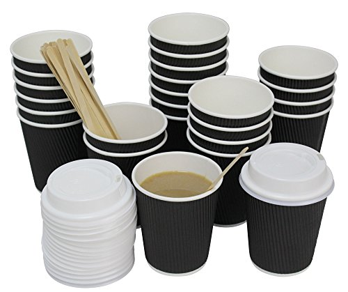 QuaCity 8 Oz Insulated Disposable Ripple Coffee Cups with White Lids, Wood Stirrers 50 Count - Perfect for Hot and Cold Beverages - No Soaking or Smells - Take To Go (Black)