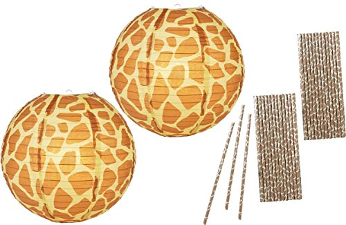 Outside the Box Papers 14 Inch Giraffe Print Paper Lanterns and Paper Drinking Straws- 2 Pk of Lanterns 50 (Safari Paper Lanterns)